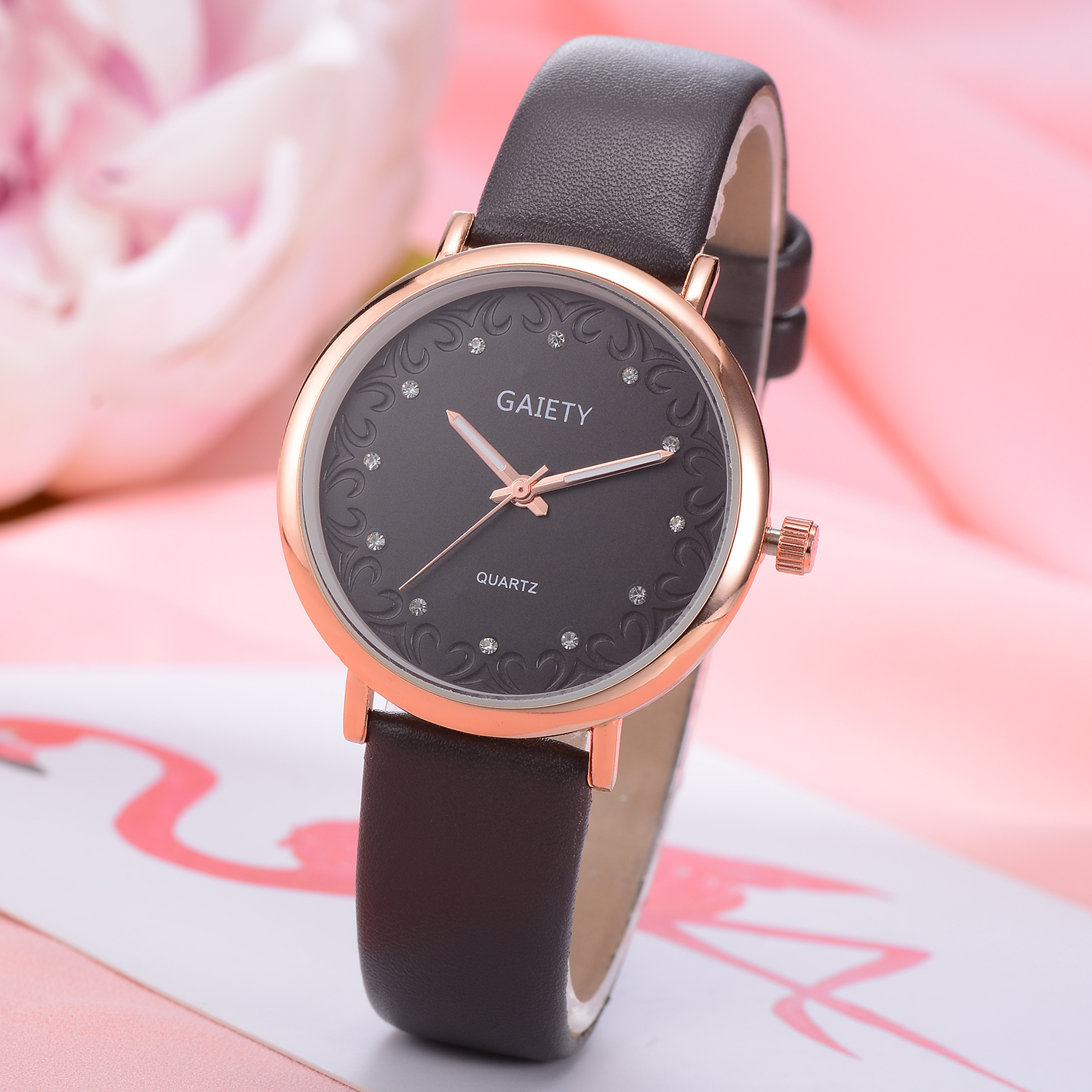 casual dress women vintage sport watches gaiety rose quartz black leather s in clock from class brand luxury item fashion outside watch