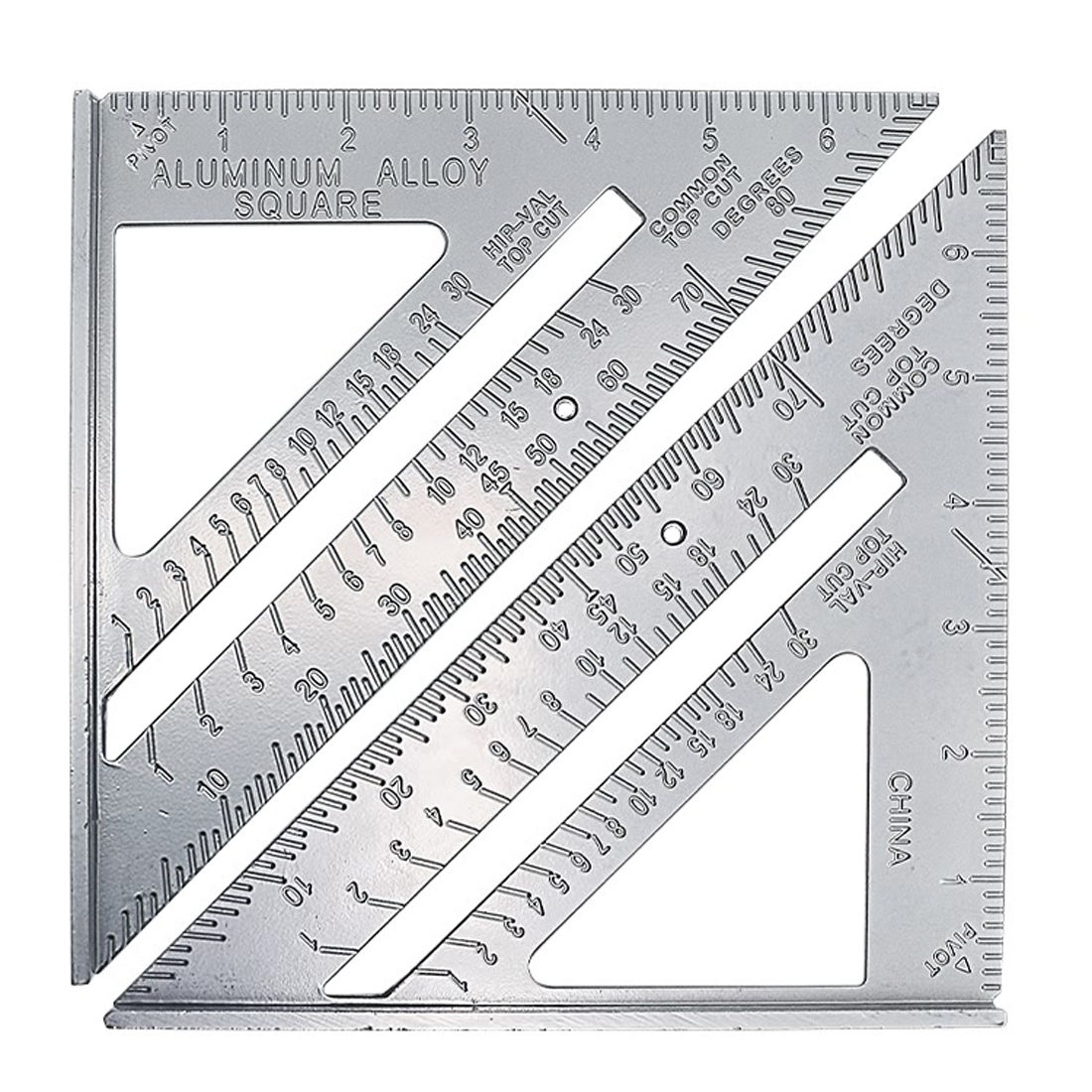 1pcs Aluminum Alloy Speed Square Protractor Miter Framing Tri-square Line Scriber Saw Guide Square Carpenter Ruler Measurement
