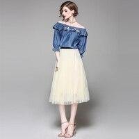 סט שתי חתיכה מזדמן חצאית ארוכת רקמת צווארון צווארון שני סטים יבול למעלה קאובוי סט קצר וחולצה לבן של נשים רוח ילדה