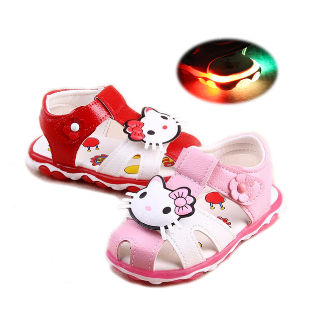 cute baby girl Summer sandals hello kitty LED flash soft  shoe for 3M-3yrs baby girls newborn infantil toddler beach sandal shoe