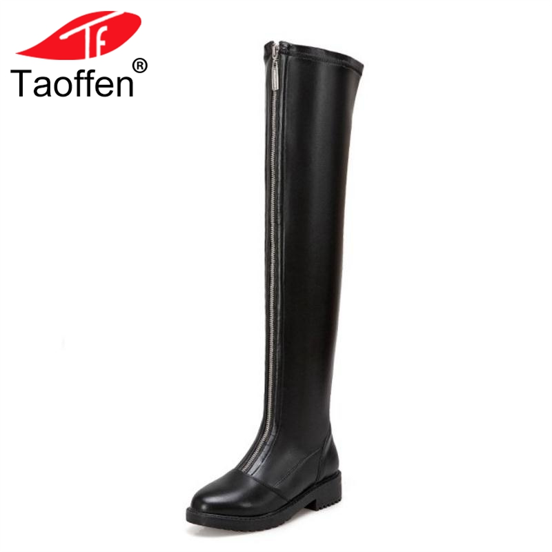 TAOFFEN Over The Knee Boots Women Genuine Real Leather Heels Shoes Woman Winter Square Heel Long Boots Women Shoes Size 34-43 women real genuine leather square low heel over knee boots woman square toe warm winter shoes heeled footwear size 34 39
