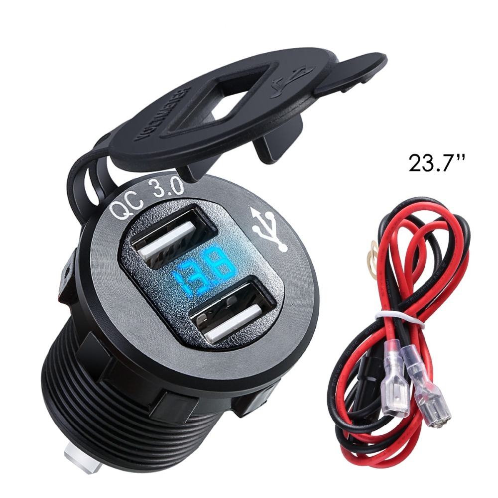 Aluminum Dual USB Charger Socket Power Outlet With Digital Voltmeter QC 3.0 USB Port With LED Voltage Meter For Car Motorcycle