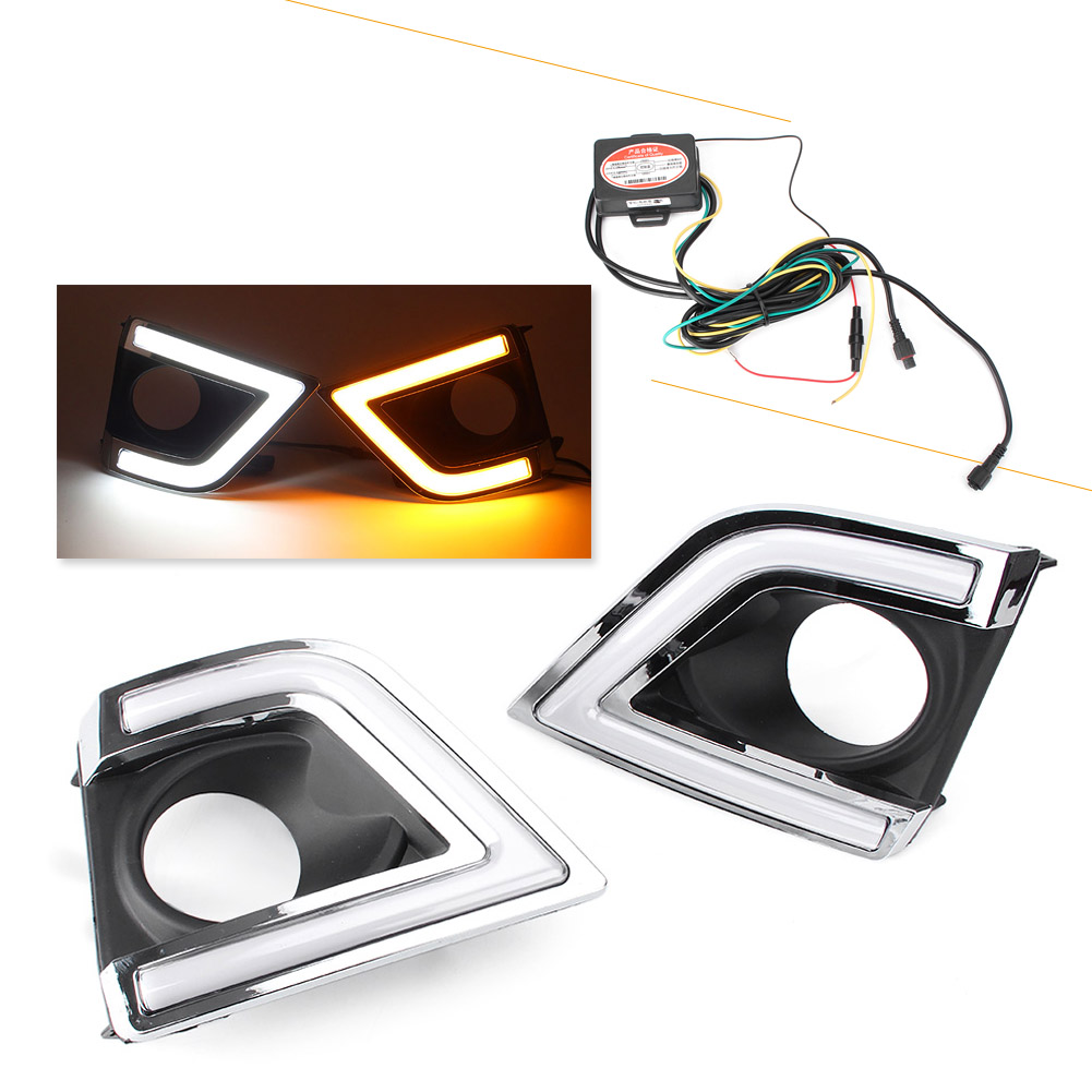 2PCS LED Daytime Running Fog Lights Work Lamp DRL For Toyota Corolla 2014 2015 Automobile Lighting Parts Accessories