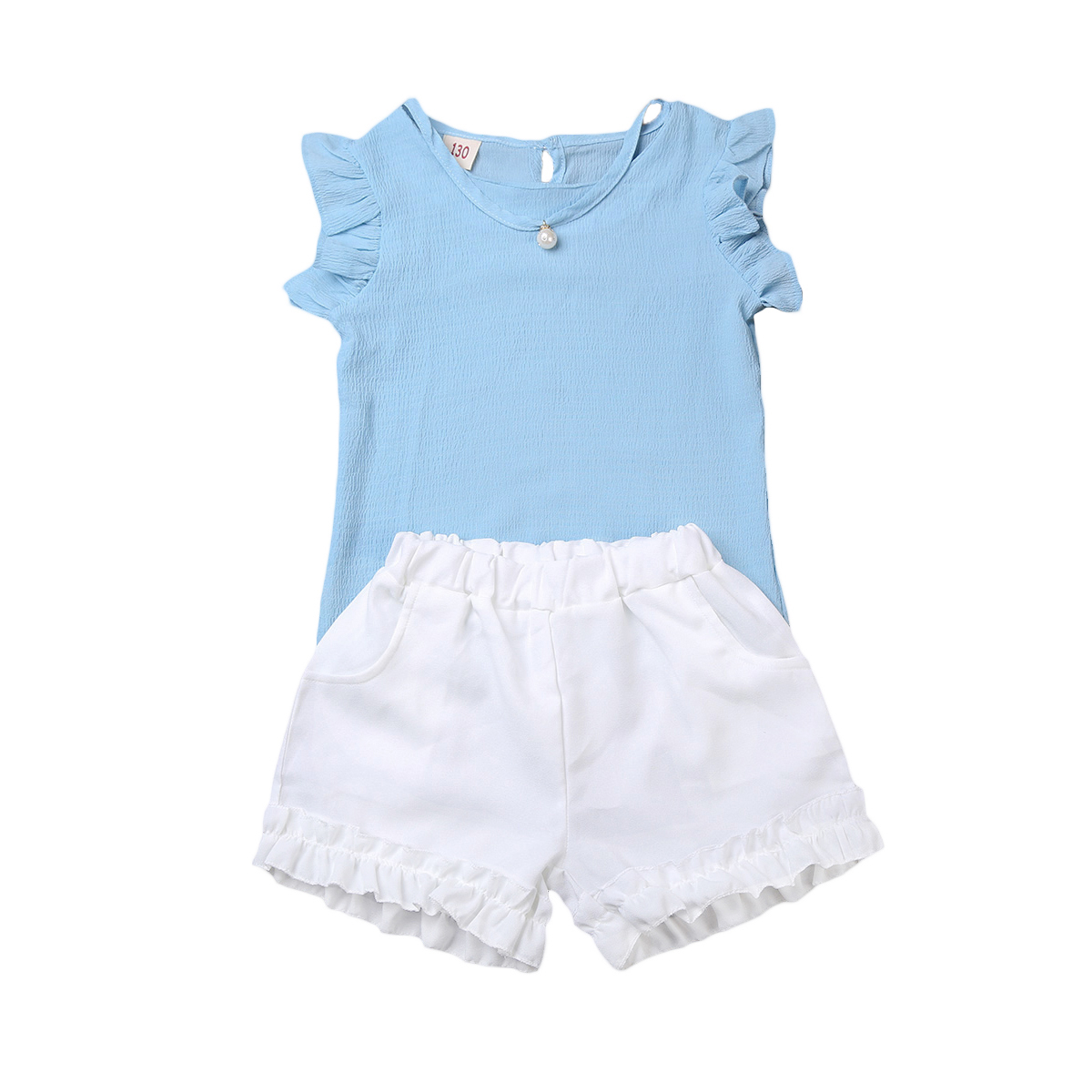 2PCS Toddler Kids Baby Girls Summer Chiffon Outfit Clothes T-shirt Tops+Shorts Sets clothes Pink Blue 2pcs children outfit clothes kids baby girl off shoulder cotton ruffled sleeve tops striped t shirt blue denim jeans sunsuit set