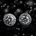 Luxury Quality 4 Carats NSCD Synthetic Dia mond Halo Studded Wedding Earrings 925 silver Women Gift