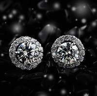 Luxury Quality 4 Carats NSCD Synthetic Diamond Halo Studded Wedding Earrings 925 Silver