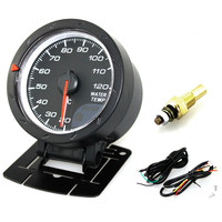 60MM 2.5Inch Universal Black Shell Water Temperature Meter 12V 20~120°C Car Motor Gauge with Red & White Lighting