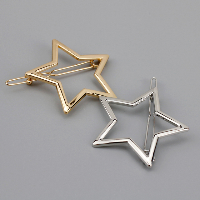 Women Metal Ponytail Holder with Star/Pentagramme Hair Clips