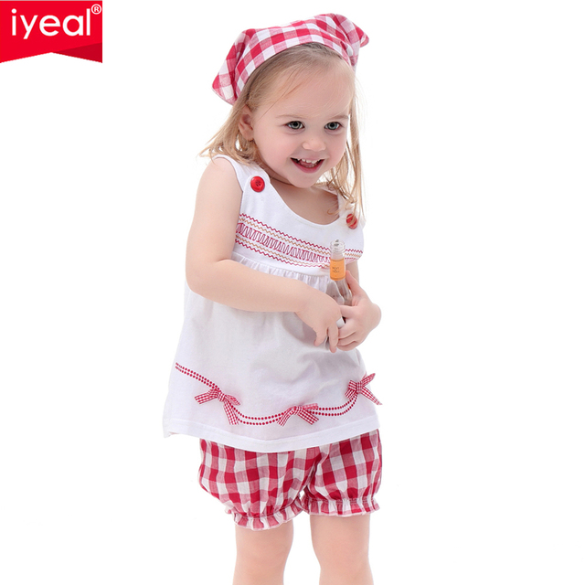 IYEAL NEW 2018 Summer Wear Baby Girl Outfit Top+Short+Headband Cotton Sets Infantis Lovely Baby Clothes Set Infant Clothing