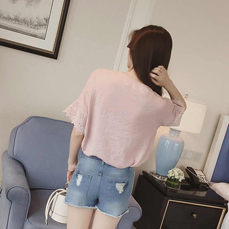 Newly 1pc Women Summer Chiffon Blouse Lace Hollow Out V-neck Short Sleeves Loose Tops DO99