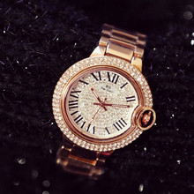 New hot sale gold silver rose plus Roman numerals full rhinestone dial gift ladies watch  Fashion & Casual