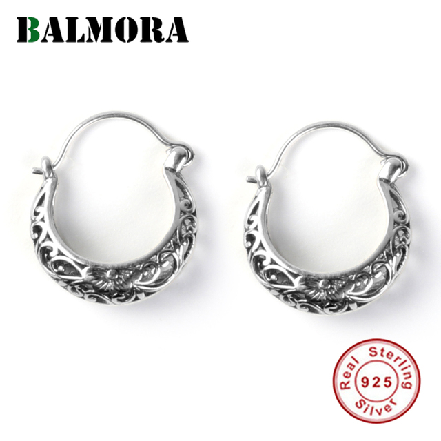 BALMORA 100% Real 925 Sterling Silver Retro Hollow Flower Earrings for Women Lover Gifts Female Fashion Jewelry Aretes SY30174