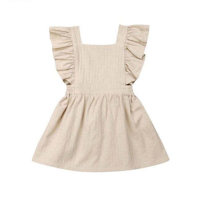 חדש יפה פעוט תינוק בנות בגדים לפרוע שרוול שמלה קיצית חליפת קיץ קיץ בגדים