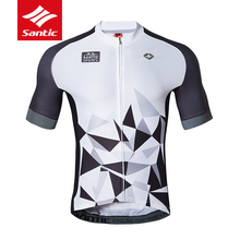 Shirt Cycling-Jerseys Road-Bike Elastic Santic Bicycle-Clothing Short-Sleeve MTB Reflective