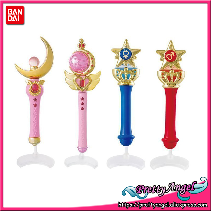 PretyAngel - Genuine Bandai Sailor Moon Crystal 20th Anniversary Gashapon Sailor Moon Wand Charm Part 1 Henshin Rod & Stick Set sailor moon capsule communication instrument machine accessory gashapon figure anime toy full set 100