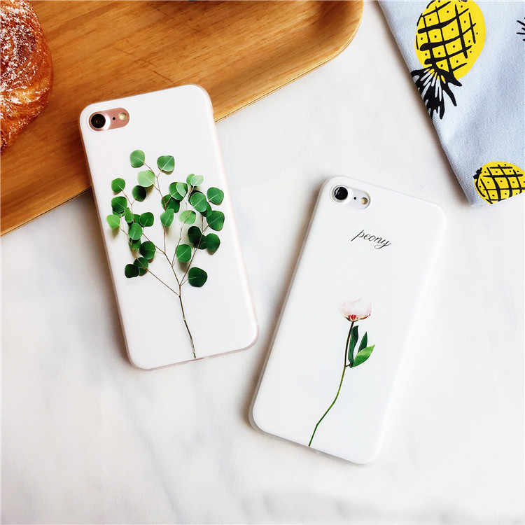 For iPhone 7 Case, Premuim 3D Leaf Flower Soft Floral Pattern Cover For iPhone7 Plus Case For iPhone 6s 6plus 8 8plus Case