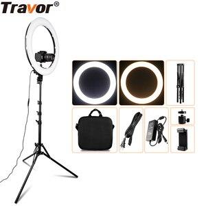 Image 1 - TravorแหวนRL 18A BiColorโคมไฟที่สามารถหรี่แสงได้การถ่ายภาพRinglightหลอดไฟขาตั้งกล้องสำหรับYouTubeแต่งหน้าSelfie Light