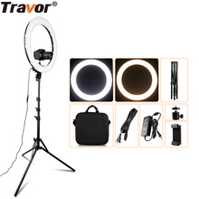 Travor halka ışık RL 18A BiColor kısılabilir halka lamba fotoğraf fener lamba için Tripod ile YouTube makyaj selfi ışığı