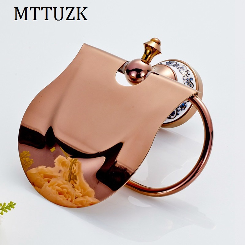 MTTUZK Rose Gold plating brass paper towel rack europe style bathroom paper holder black toilet paper box toilet accessories