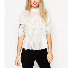 Nice Sexy Gauze Lace Crochet Women Blouses Celebrity Female Casual Party Loose Shirts Ladies Black Top And Blouse plusLBAI0185