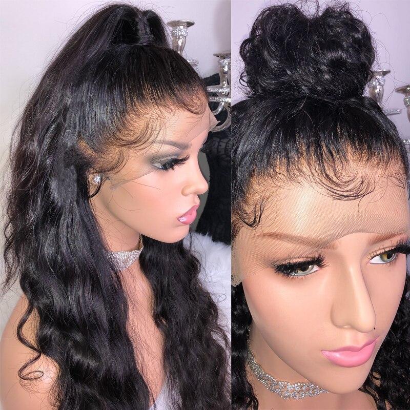 Прозрачный парик с ребенком волны волос на теле Бесклеевой бразильский человеческих волос парики для женский, черный предварительно сорва...