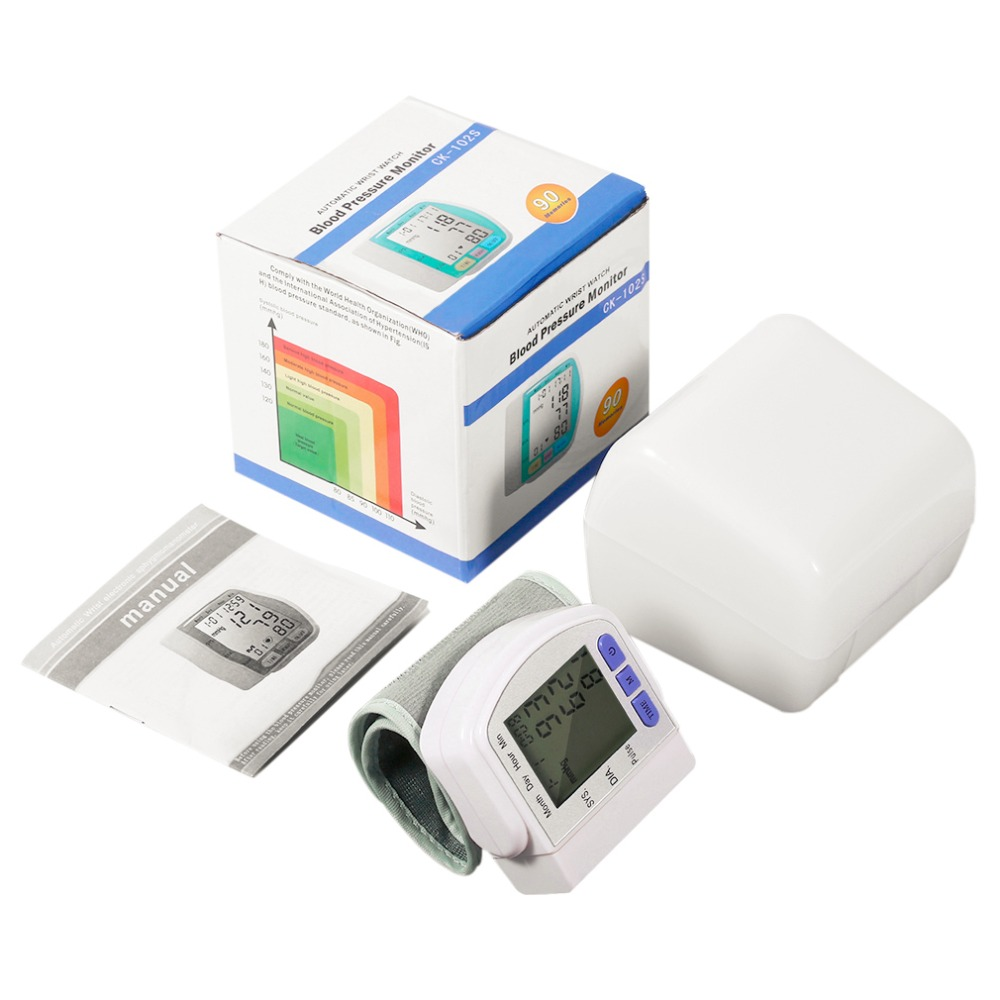 2019 Mode Digital Lcd Automatische Handgelenk Blutdruck Monitor Messung Gerät Herz Schlagen Meter Pulsoximeter Gesundheit Pflege Tonometer + Box Feine Verarbeitung