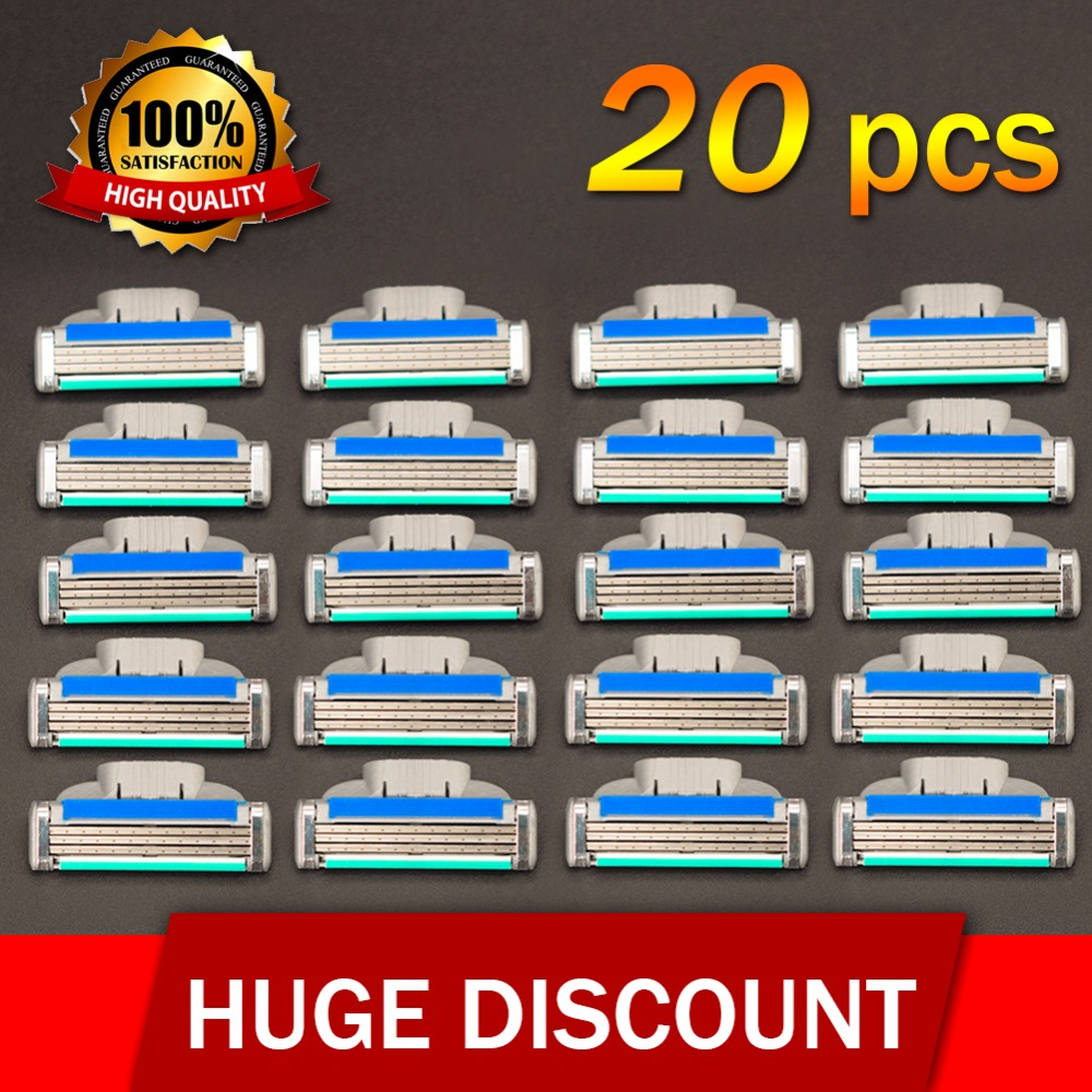 20pcs/set Brand High Quality GradeAAA+ Face Care Safety Razor Blades Shaving Razor Blades For Men Mache 3 Standard For RU&Euro