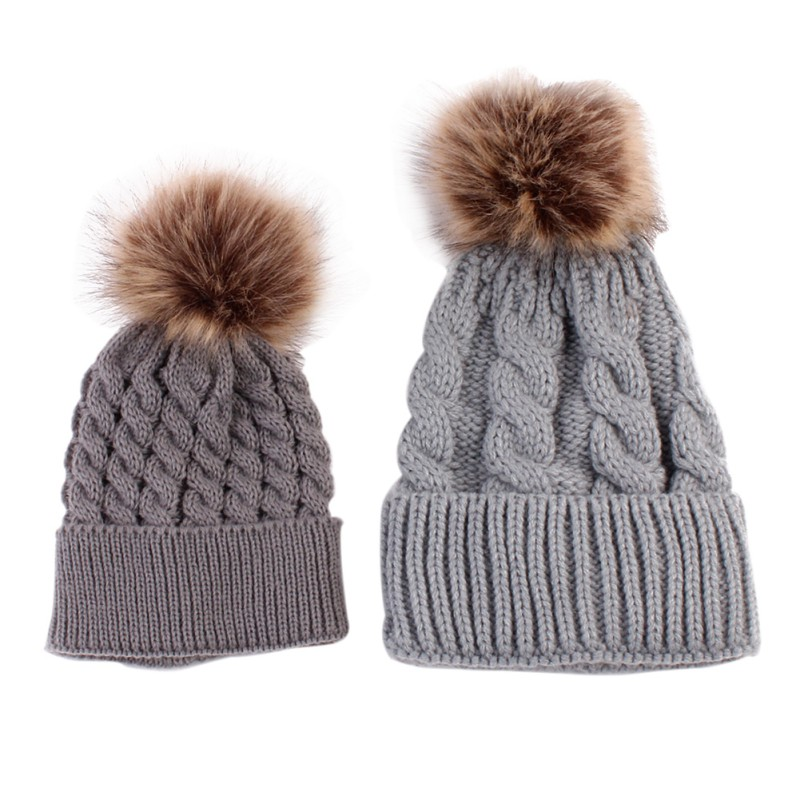 2Pcs Mother Kids Child Baby Warm Winter Knit Beanie Fur Pom Hat Crochet Ski  Cap Cute 2018 New arrival Mom And Baby Knited Hats-in Hats   Caps from  Mother ... f9a9695c79a