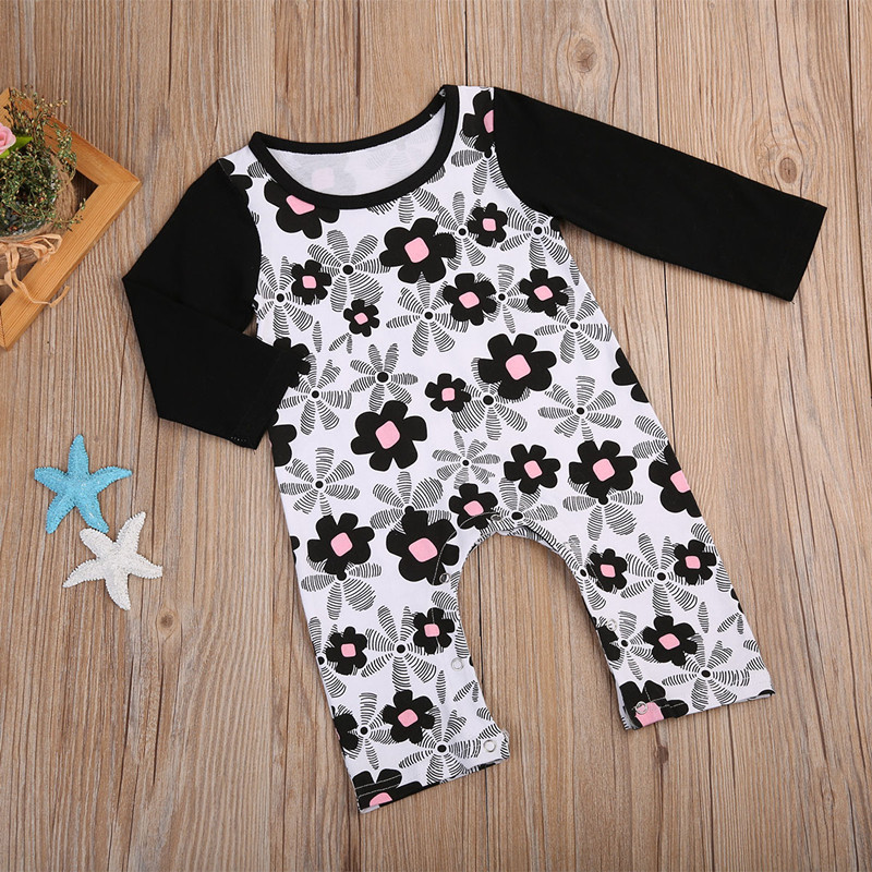 Cute Infant Newborn Baby Girls Long Sleeves Floral Romper Jumpsuit Sunsuit Outfits Cotton One Piece Clothes