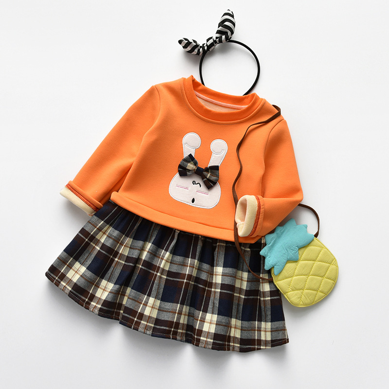 Godier Princess Baby Girls Dresses Fashion Kids Casual Clothes Sweater Top With Dresses Cotton Costume Plaid Children Clothing europe hot sale baby girls long sleeve velvet plaid top pant suit fashion childrens casual clothes princess clothing 16d1224