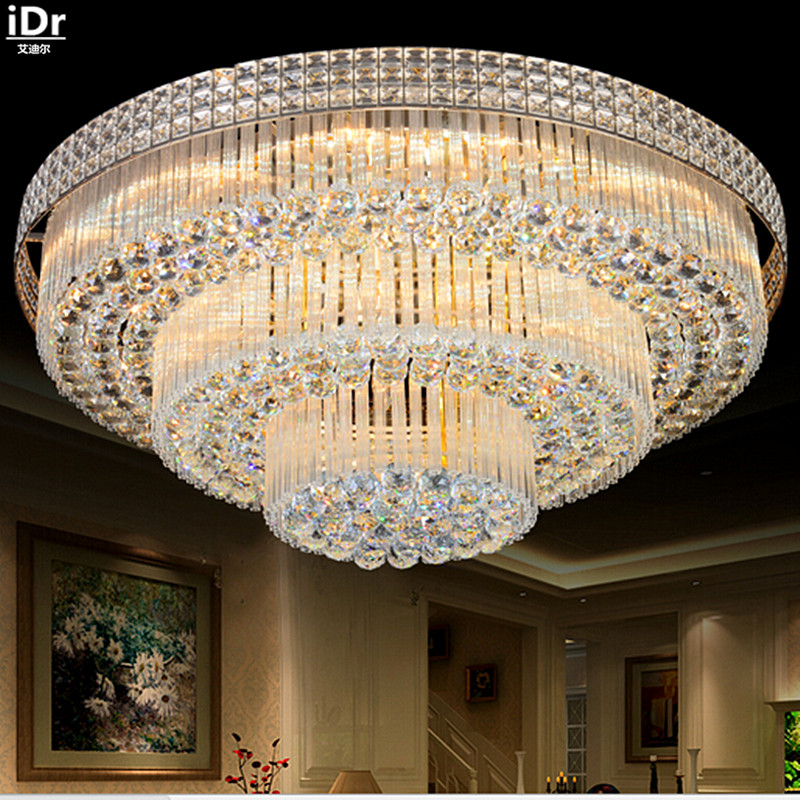 Golden Circular Living Room Lamp Crystal S King Cake Bedroom Lights LED