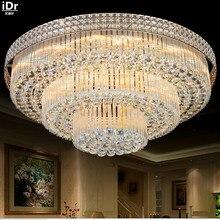 Lampe dorée circulaire en cristal, luminaire de plafond, luminaire roi, idéal pour un salon ou une chambre à coucher, LED, nouveau catalogue