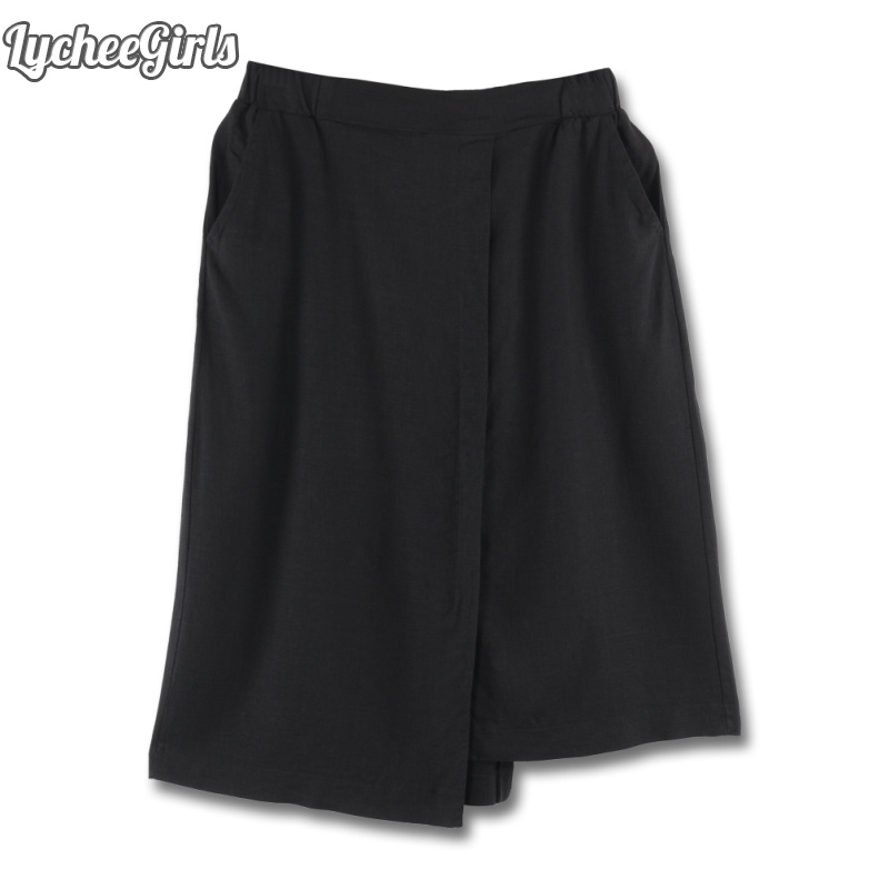 LycheeGirls Vinage Style Women Skirt Dissymmetry Solid Elastic Waist Casual Loose Spring Autumn A Line Skirt