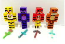 NEW 4pcs/set Minecraft Five Nights At Freddy's 4 FNAF Foxy Chica Bonnie Freddy Action Figures Kid Toy free shipping