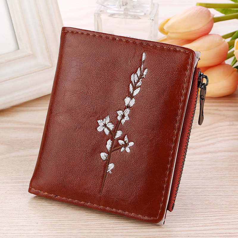 Vintage Embroidery Flowers Lady PU Coin Purse Money Bag Small  Wallets Fashion Women Female Hasp Zipper Short Wallet AB@W3