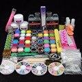 Hot Sale Acrylic Nail Set Glitter Powder Primer Remover Cleanser Lquid Kit Cuticle Oil Nail File Brush Nail Art Tools Kit Tips