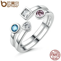 BAMOER New Collection 925 Sterling Silver Statement Finger Ring Set Clear CZ Vintage Ring For Women