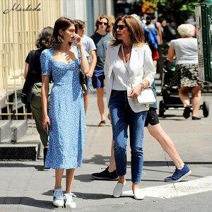 Image 5 - Macheda French Romance Retro Dresses Women Casual Floral Print Square Collar Dresses Ruffles Puff Sleeve Midi Dresses Lady 2019