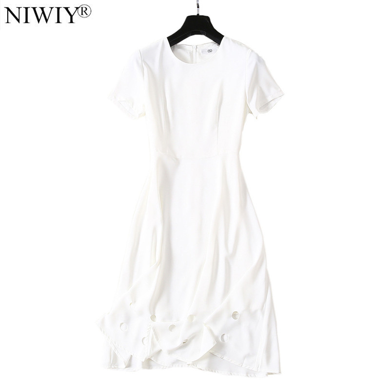 New Woman Hollow Out White Summer Dress Robe Ete 2019 Femme Midi Shirt Party Beach Dress