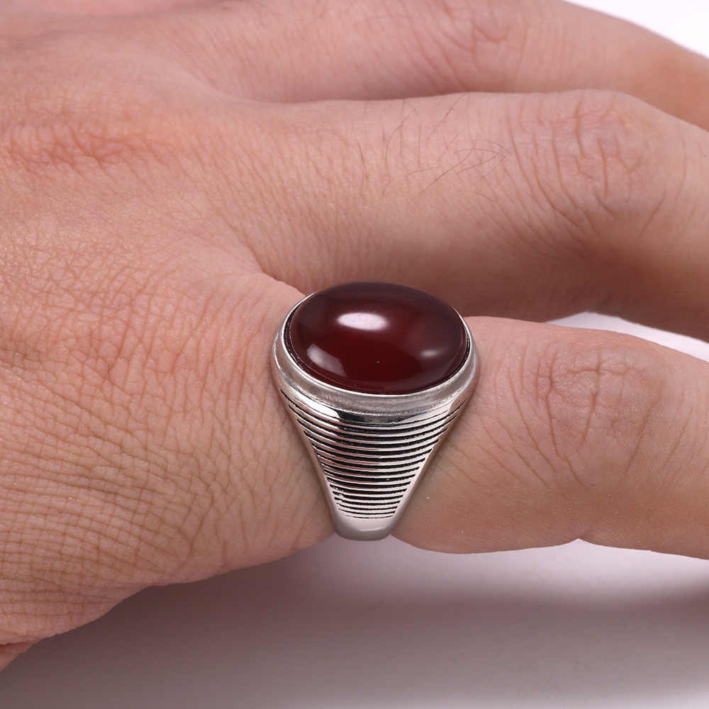 Real 925 เงินสเตอร์ลิงโบราณแหวนสำหรับสตรีและผู้ชายธรรมชาติสีนิลหิน Minimalism CROSS Stripe ตุรกีเครื่องประดับ