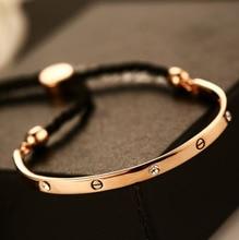 HOT HOT HOT Brand New pulsera Real de Oro Rosa Pulsera ajustable y Brazalete de Regalo de Lujo Para Las Mujeres