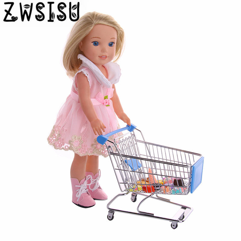 Four color shopping carts, suitable for 14.5 inch U.S. girl dolls, shopping carts with dolls to visit the supermarket n523-n526