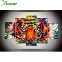 YOGOTOP DIY Diamond Painting Cross Stitch 5D Diamond Embroidery Full Mosaic Crafts Needlework Colourful Tiger 5pcs