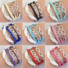 Vintage Infinity Braid Bangles Love Angel Wing Rhinestone Pulseira Feminina Bracelets for Women Jewelry Christmas New Year Gifts