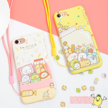 Cute Japan sumikko gurashi Cases Cartoon Soft TPU Case For iphone 6 6s 7 7Plus phone back cover with free strap