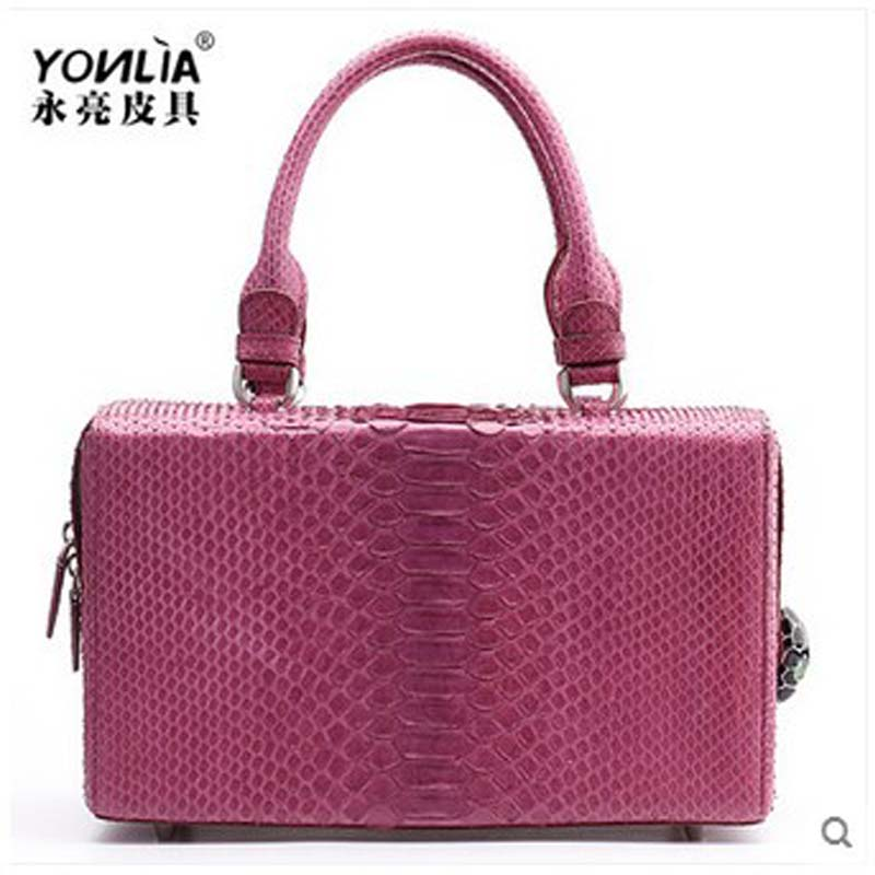 yongliang New snake skin ladies handbag fashion stewardess women handbag personalized leather women bag single shoulder BOX bag yuanyu real snake skin women bag new decorative pattern women chain bag fashion inclined single shoulder women bag