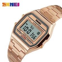 SKMEI montre de Sport pour hommes, bracelet en acier inoxydable, affichage, 3 bars, montre numérique étanche, décontracté, LED