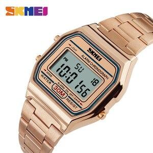 Image 1 - SKMEI montre de Sport pour hommes, bracelet en acier inoxydable, affichage, 3 bars, montre numérique étanche, décontracté, LED