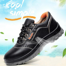 big size mens breathable steel toe caps working safety shoes cow leather summer sneakers tooling security boots protect footwear