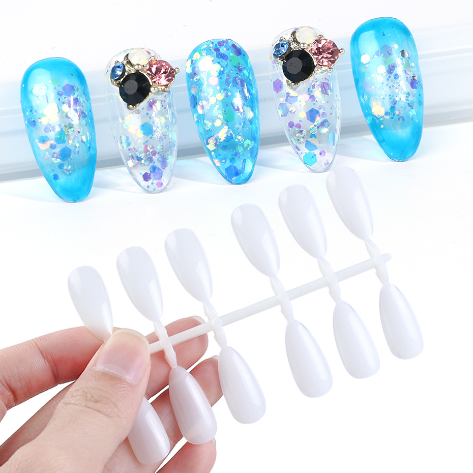 120pcs Stiletto Shape False Nail Tips Nature Clear Round Full Cover Display Practice Acrylic UV Gel Polish Tool Manicure JI1030